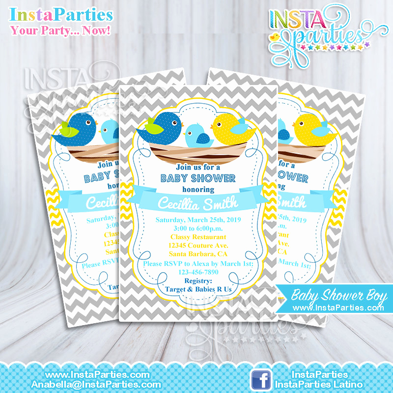 Baby Welcome Party Invitation Unique Baby Shower Invitations Nest Birds Blue Yellow Invitation