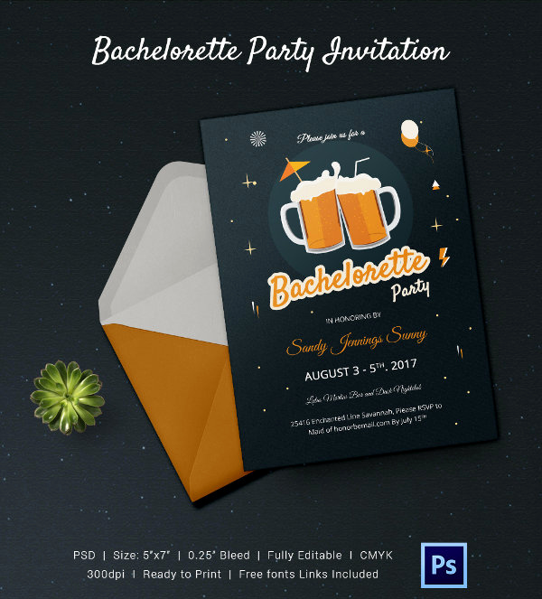 Bachelor Party Invitation Templates Awesome Bachelorette Invitation Template 40 Free Psd Vector