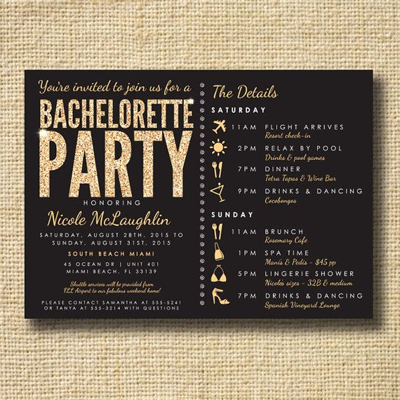 Bachelor Party Invitation Wording Awesome Bachelorette Party Invite Sta Te Party Invite Glitter