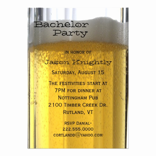 "Bachelor Party Invitation Wording Awesome Glass Of Beer Bachelor Party Invitation 5"" X 7"" Invitation"