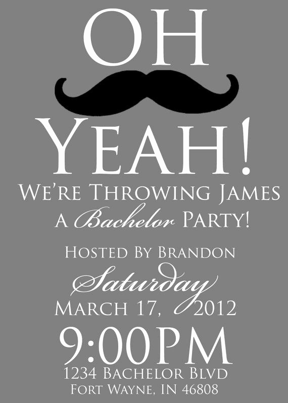 Bachelor Party Invitation Wording Fresh Getting Married Bachelor Party Mustache Invitation Invite