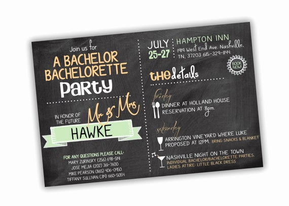 Bachelor Party Invitation Wording Inspirational Bachelor Bachelorette Party Invitation Customizable Colors