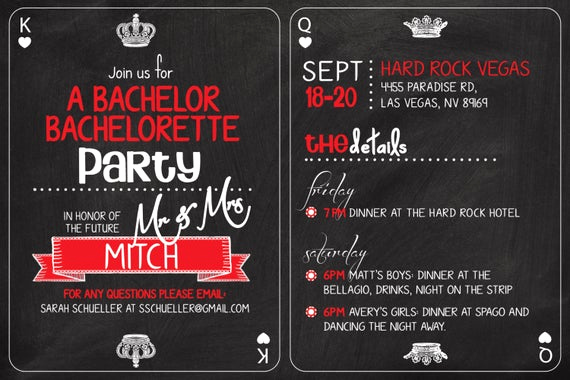 Bachelor Party Invitation Wording Lovely Vegas Casino themed Bachelor Bachelorette Party Invitation