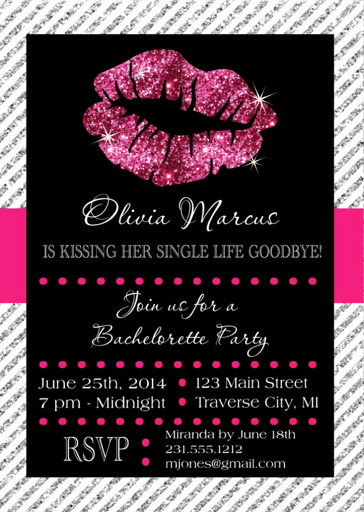 Bachelorette Party Invitation Ideas Inspirational Lips Bachelorette Invitation Kissing Single Life Goodbye