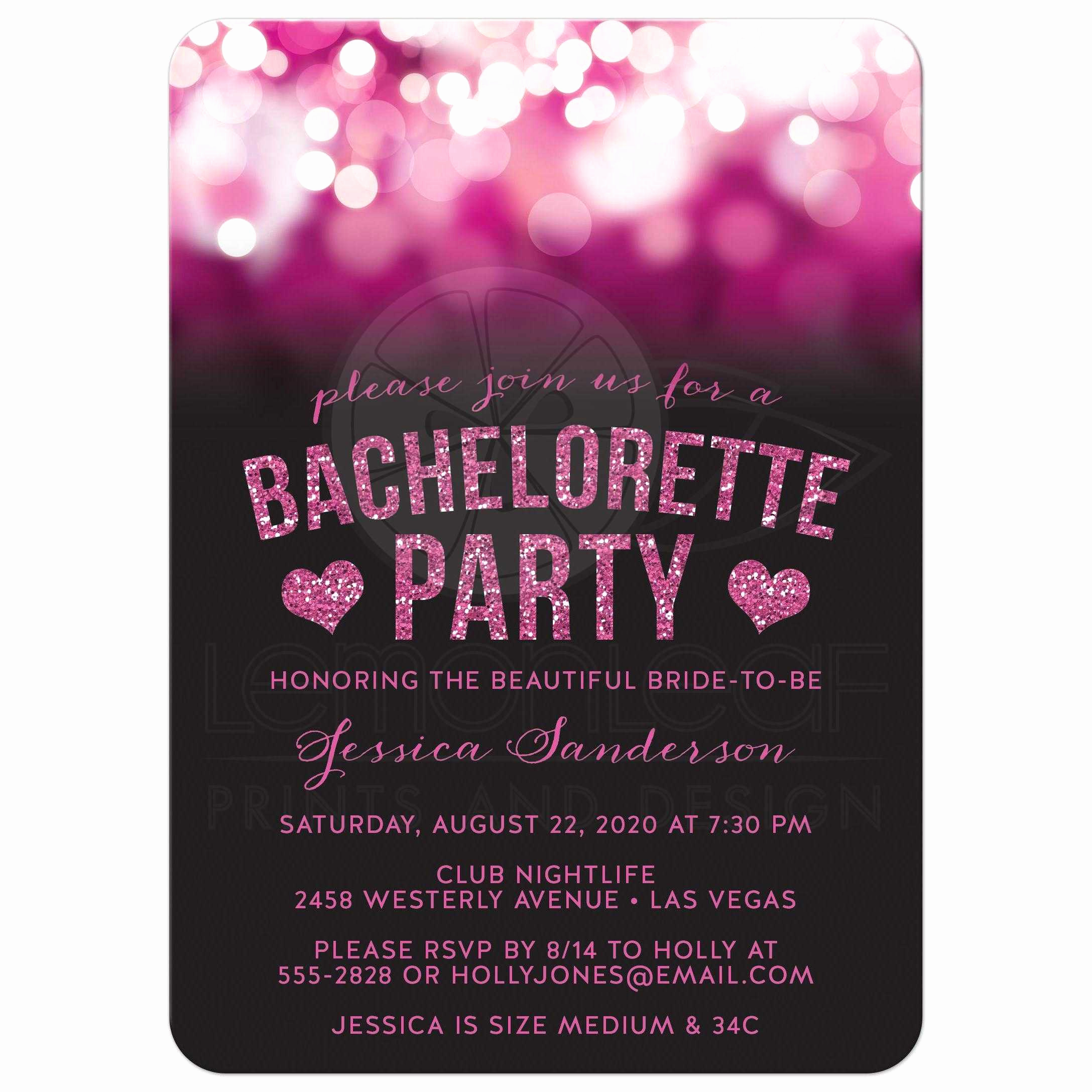 Bachelorette Party Invitation Ideas Unique Bachelorette Party Invitations Hot Pink Party Lights