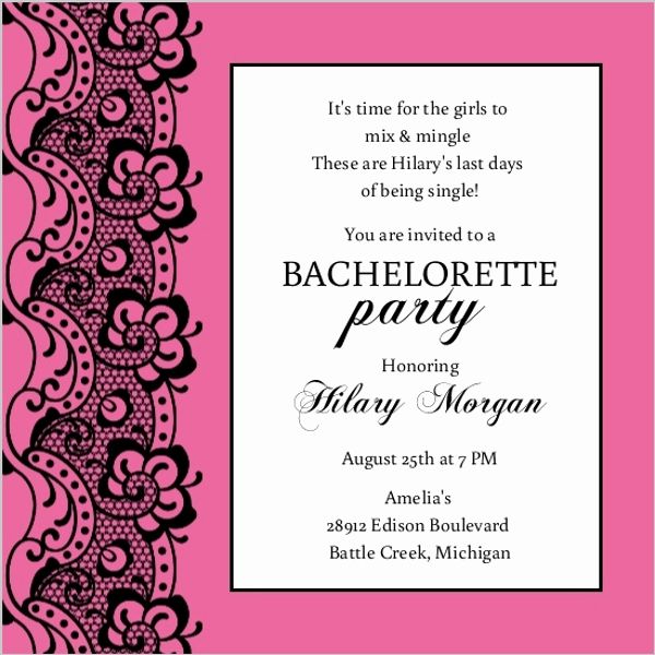 Bachelorette Party Invitation Template Awesome Black Lace and Pink Bachelorette Party Invitation