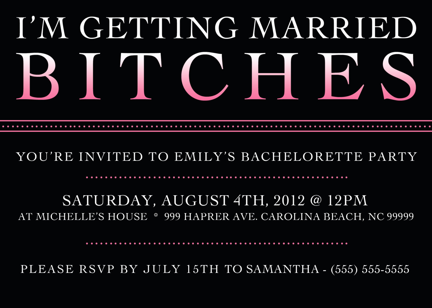 Bachelorette Party Invitation Template Inspirational Printable Bachelorette Party Invitation 5 X 7 Bachelorette