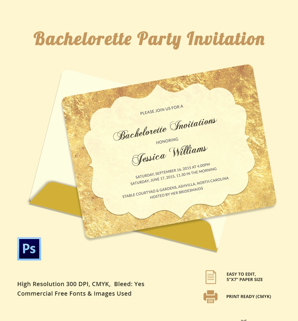 Bachelorette Party Invitation Templates Luxury Bachelorette Invitation Template 40 Free Psd Vector