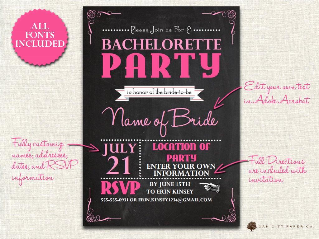 Bachelorette Party Invitation Templates Unique Bachelorette Invitation Chalkboard themed Bachelorette Party