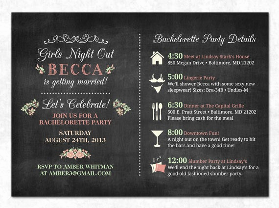 Bachelorette Party Invitation Wording Awesome Items Similar to Chalkboard Bachelorette Invitation