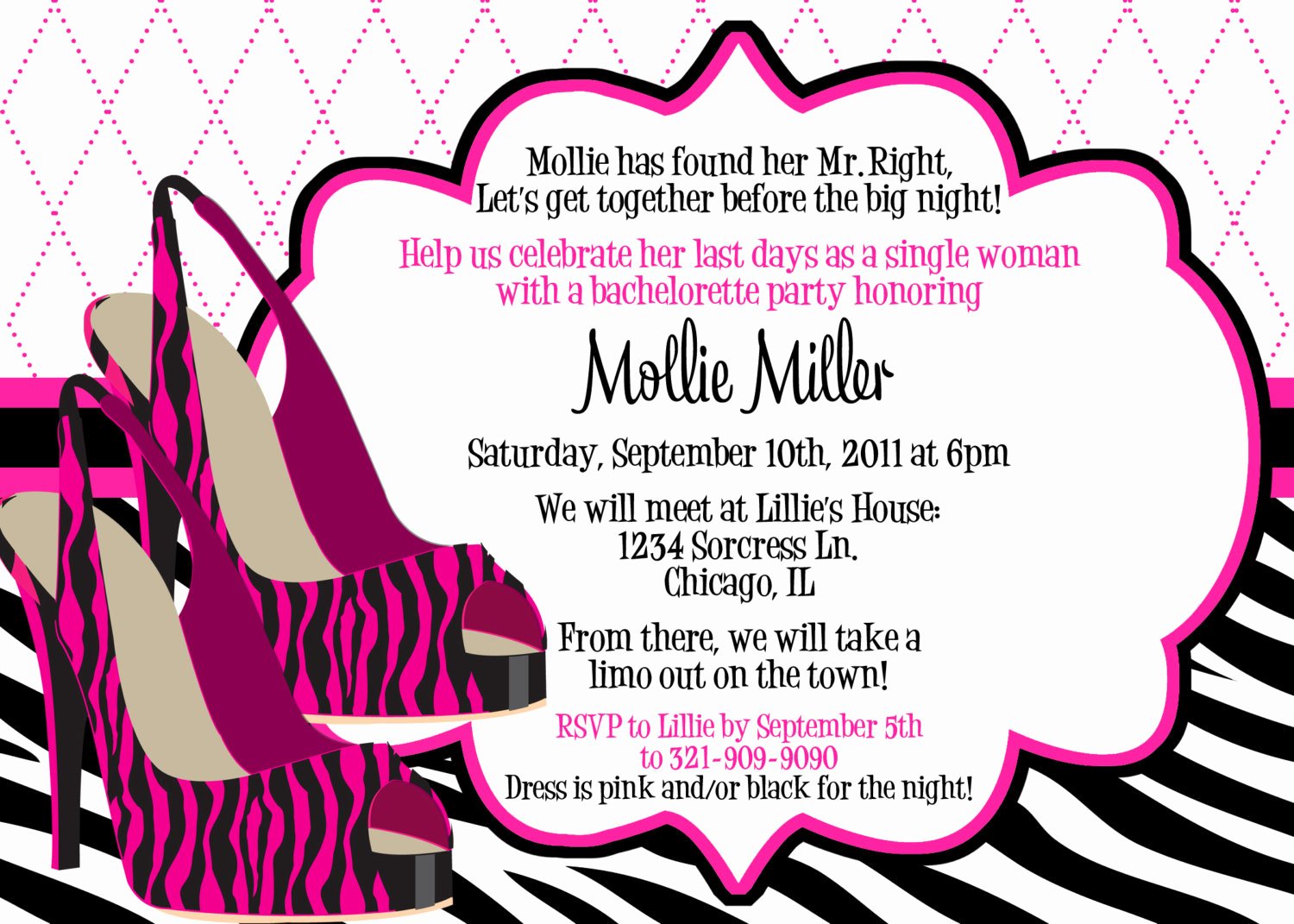 Bachelorette Party Invitation Wording Awesome Items Similar to Zebra Heels Pink and Black Bachelorette