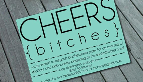 Bachelorette Party Invitation Wording Fresh Cheeky Cheers Bitches Bachelorette Party Invitation by