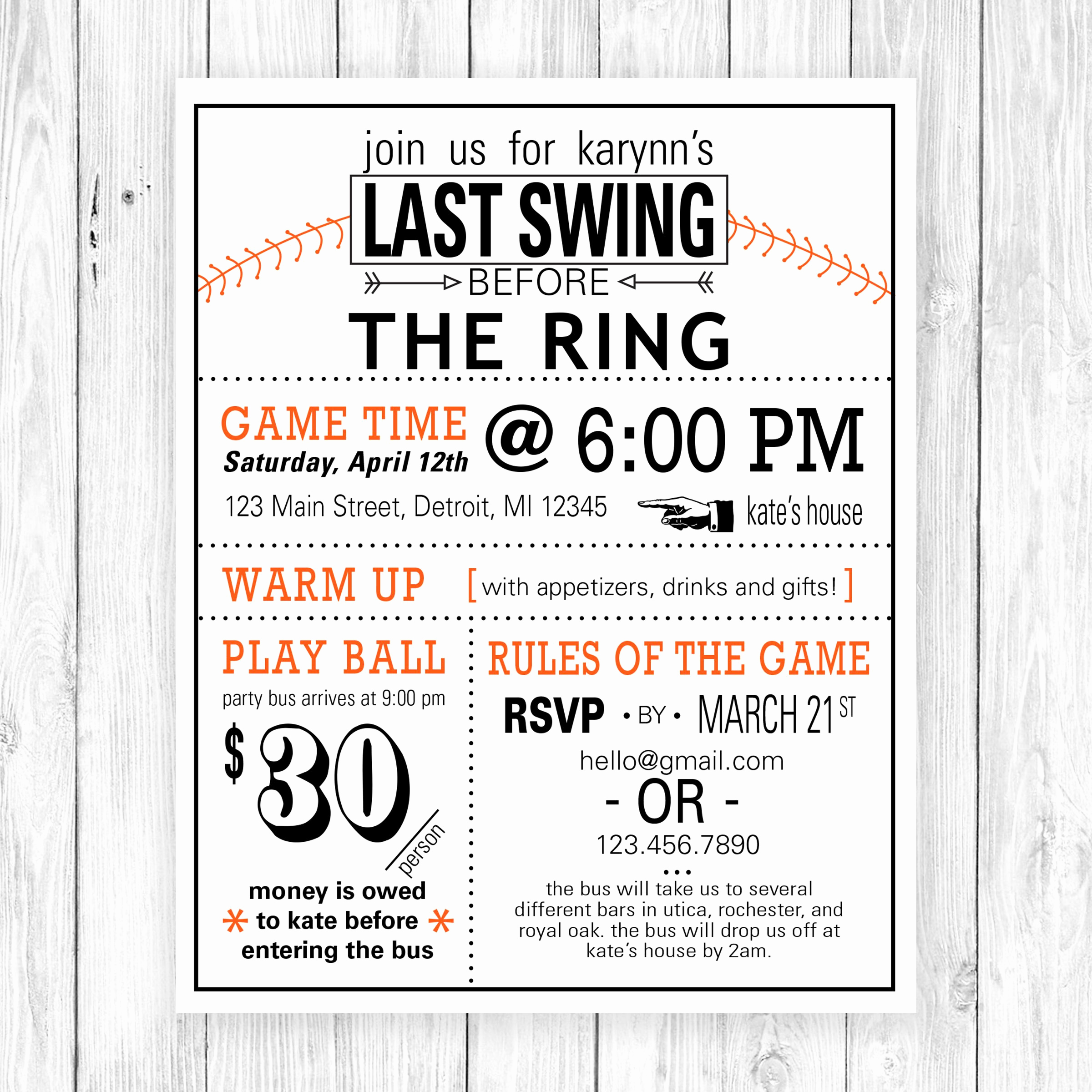 Bachelorette Party Invitation Wording Lovely Fun and Clever Wording Ties This Baseball themed