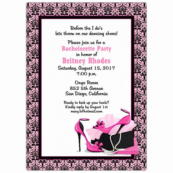 Bachelorette Party Invitation Wording New Pretty Pumps Bachelorette Invitations