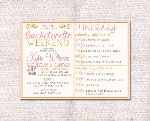 Bachelorette Party Invitation Wording Unique Bachelorette Party Weekend Invitation and Itinerary Custom