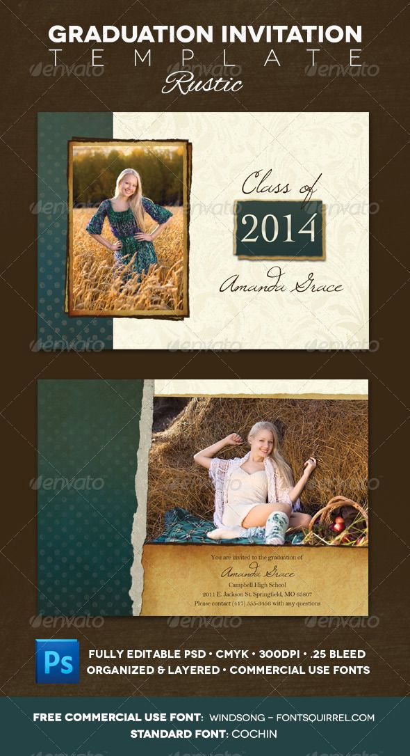 Back Of Graduation Invitation Awesome Graduation Announcement Rustic Graphicriver • Includes