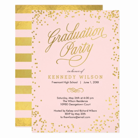 Back Of Graduation Invitation Awesome Shiny Confetti Graduation Party Invitation Pink