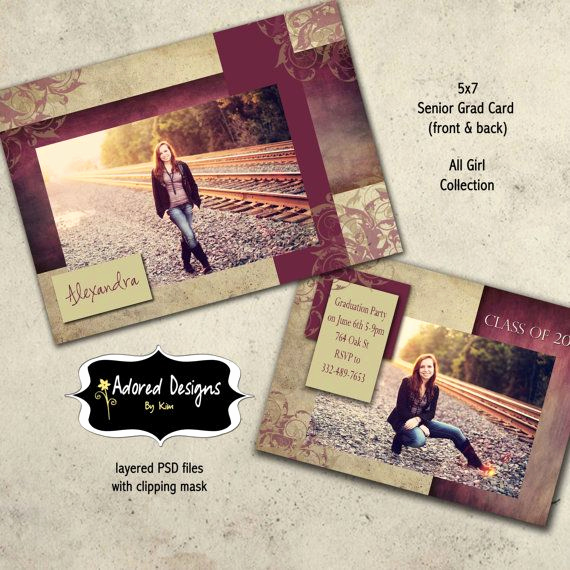 Back Of Graduation Invitation Beautiful Girl Senior Graduation Announcement Shop Template