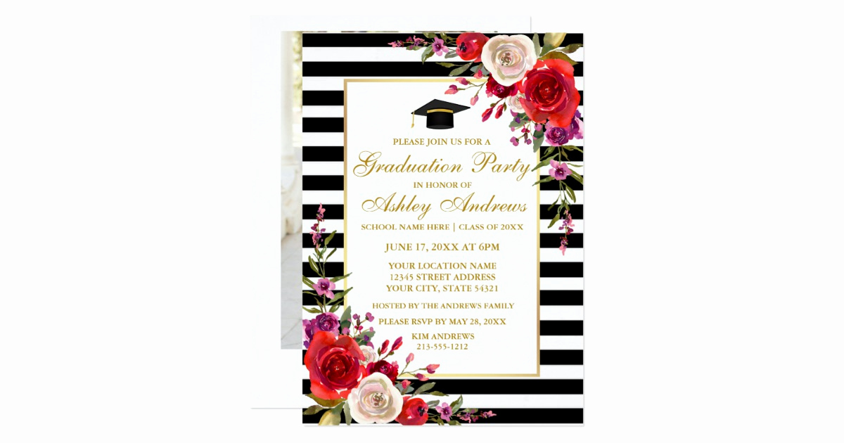 Back Of Graduation Invitation Fresh Floral Stripes Gold Graduation Party Back