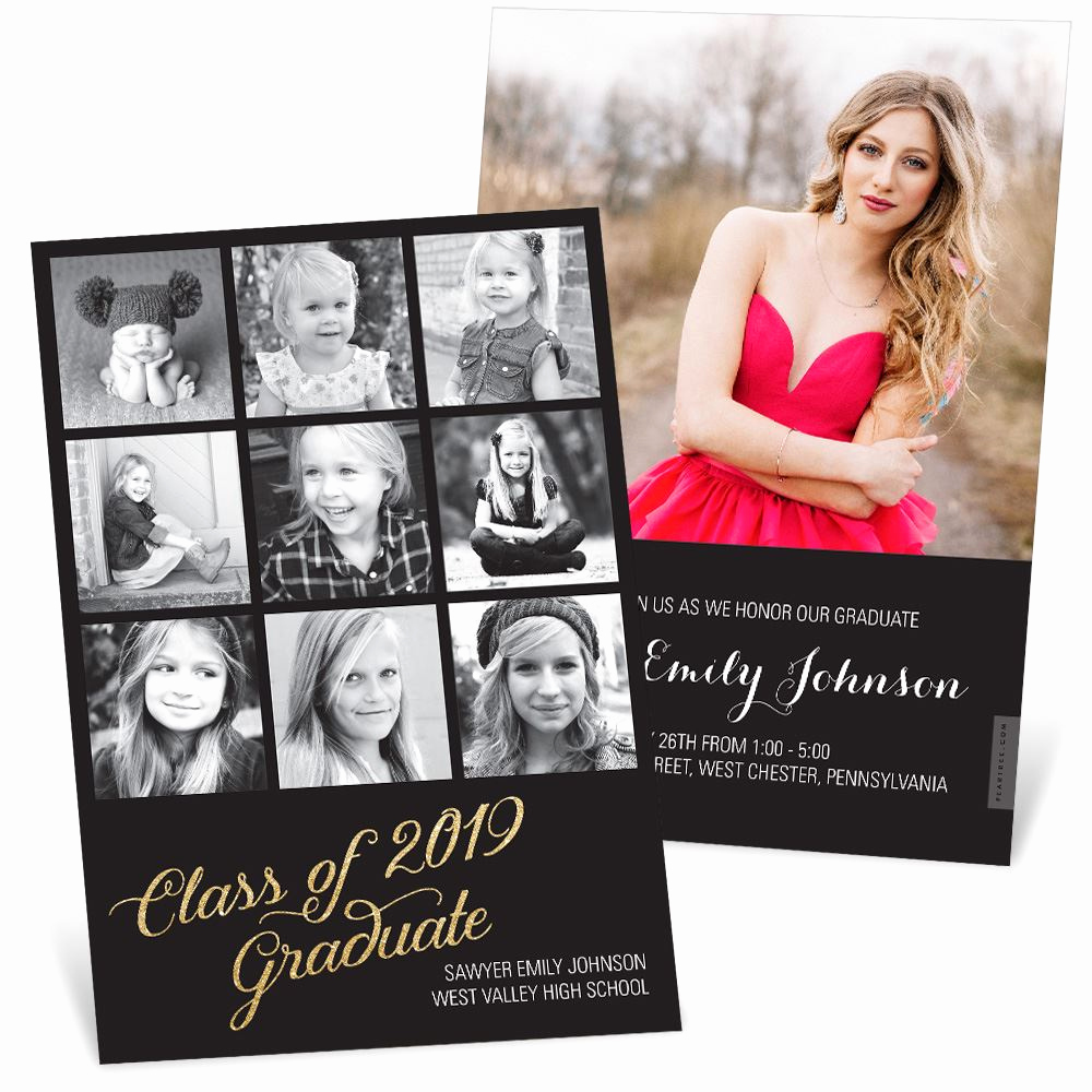 Back Of Graduation Invitation Luxury Glittering Grad Graduation Announcements