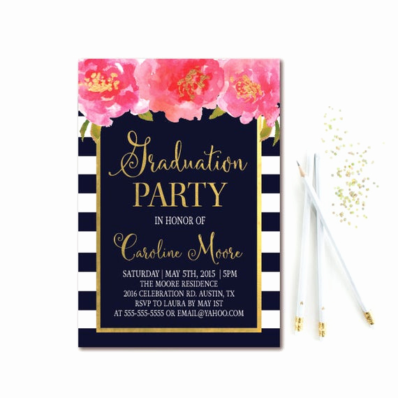 Back Of Graduation Invitation New Floral Graduation Party Invitation Navy & White Stripe