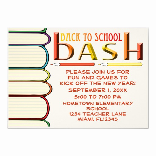 Back to School Invitation Awesome Back to School Bash Party Invitation W Books
