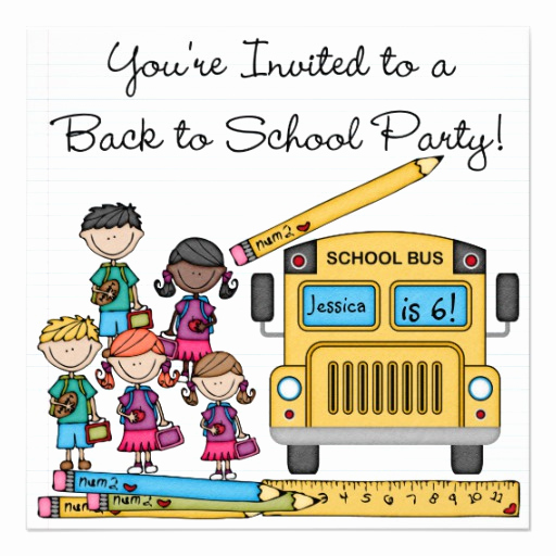 "Back to School Invitation Beautiful School Bus Back to School Birthday Invite 5 25"" Square"