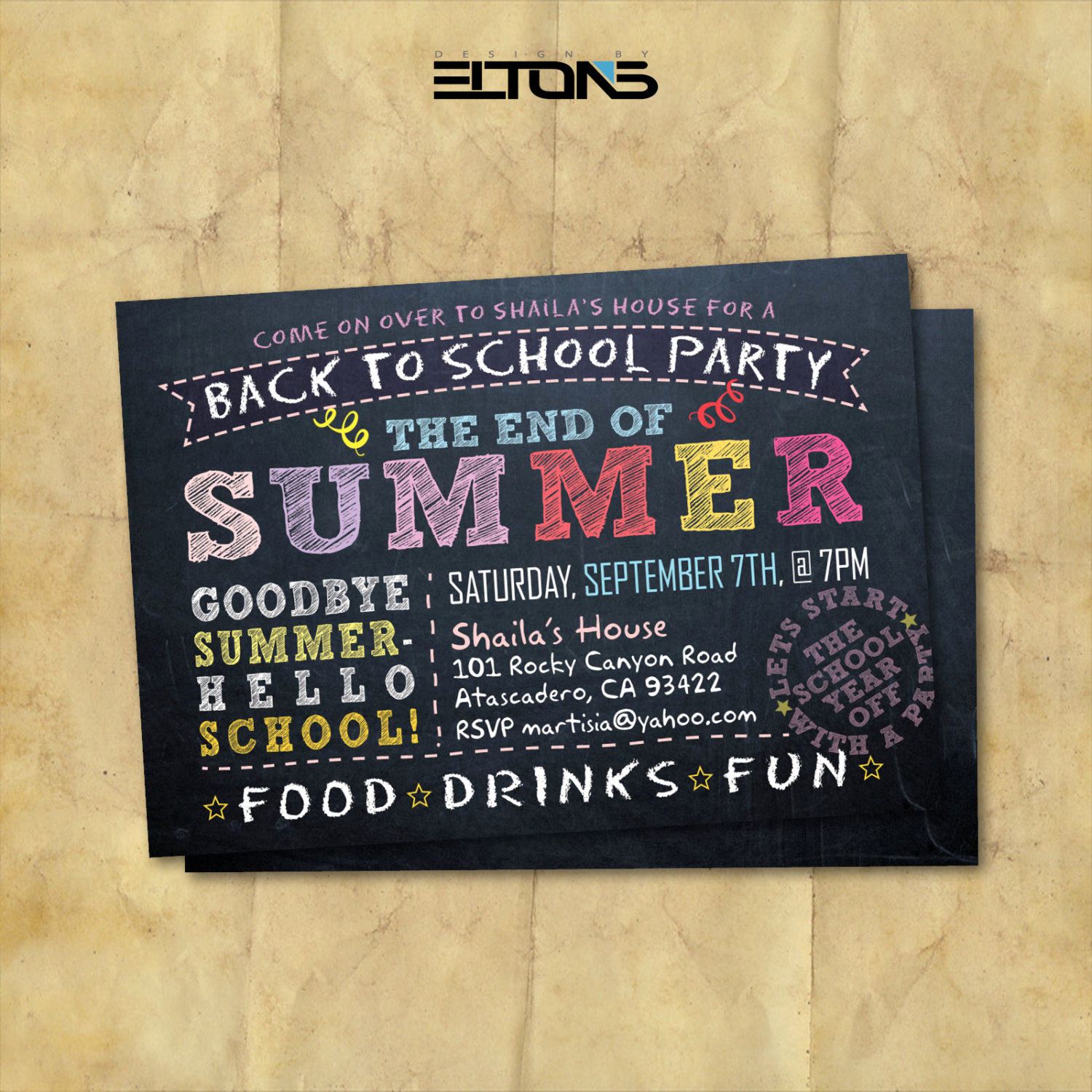 Back to School Invitation Best Of Back to School Party Doublesided Invitation End Of Summer