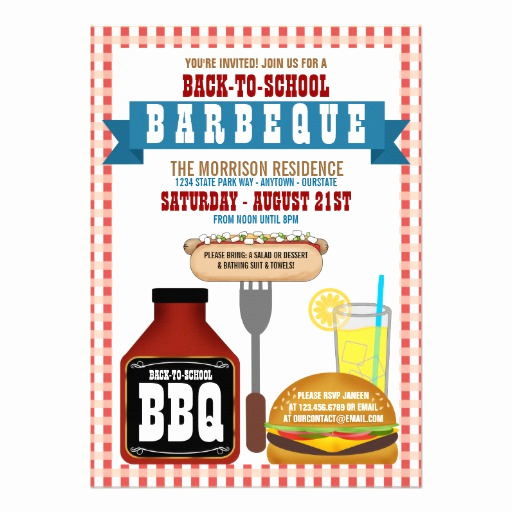 "Back to School Invitation Elegant Back to School Barbeque Party Invitations 5"" X 7"