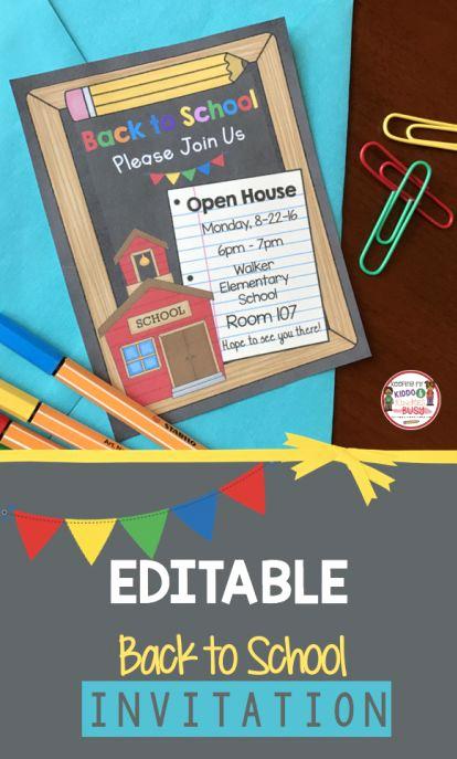 Back to School Invitation Elegant Editable Back to School Open House Meet the Teacher