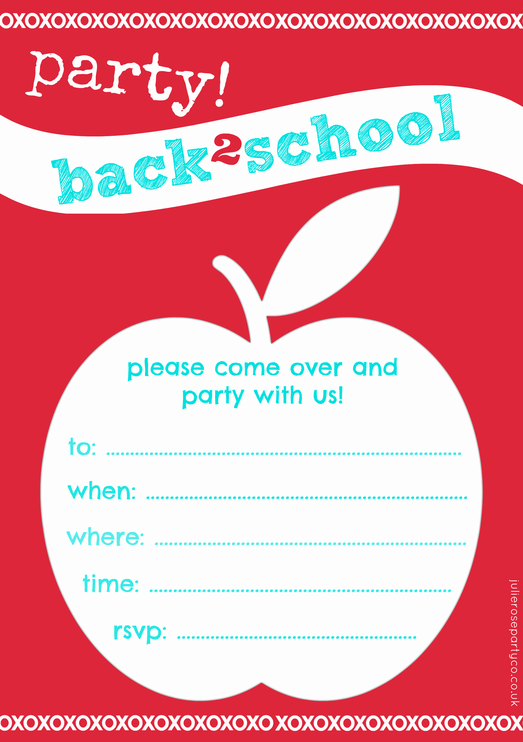 Back to School Invitation Elegant Free Back to School Party Invites and Cake toppers