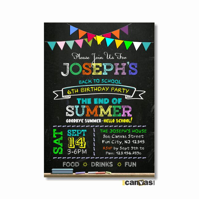 Back to School Invitation Fresh Back to School Birthday Party Invitation Printable by