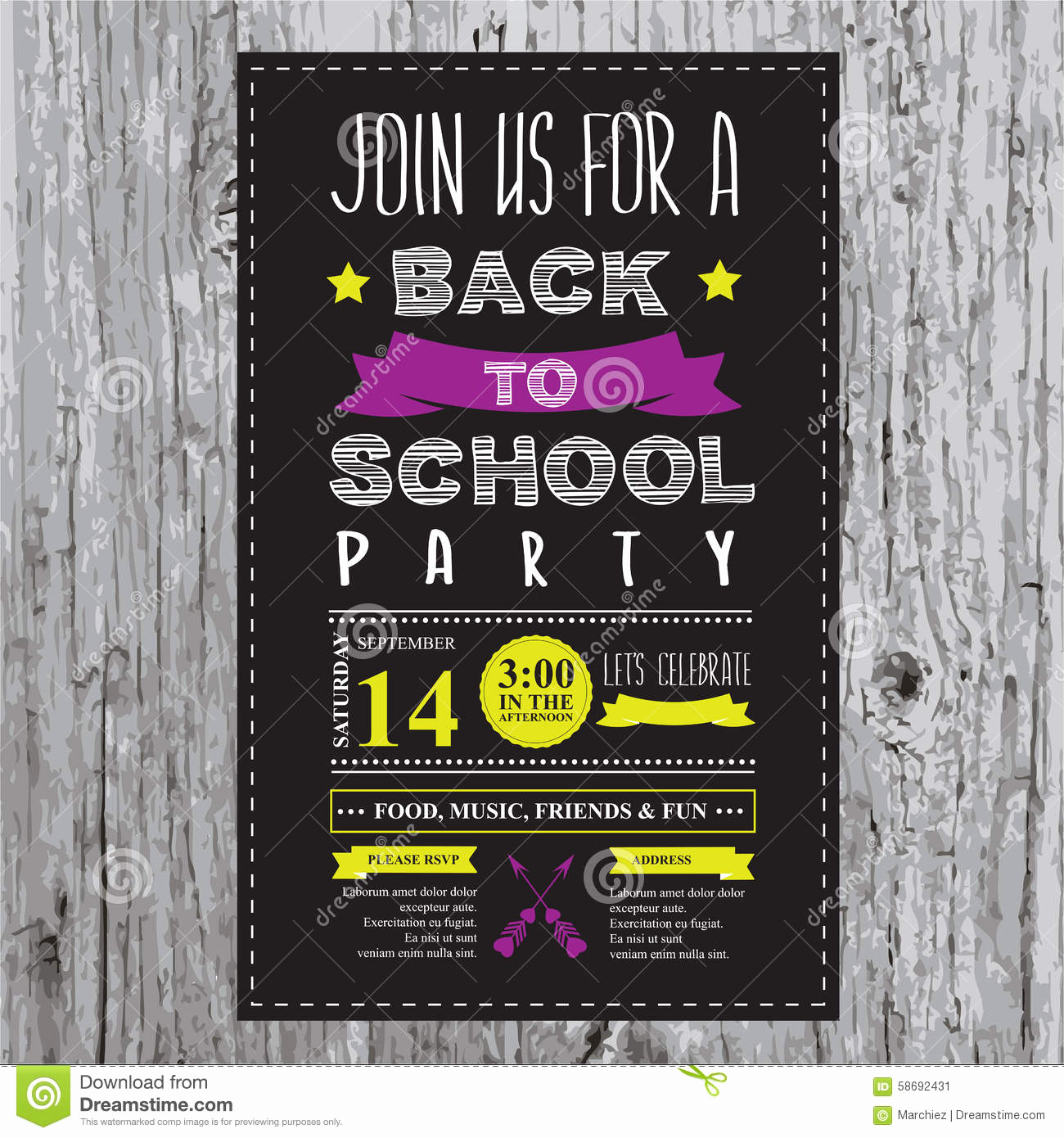 Back to School Invitation Fresh Back to School Party Invitation Stock Vector