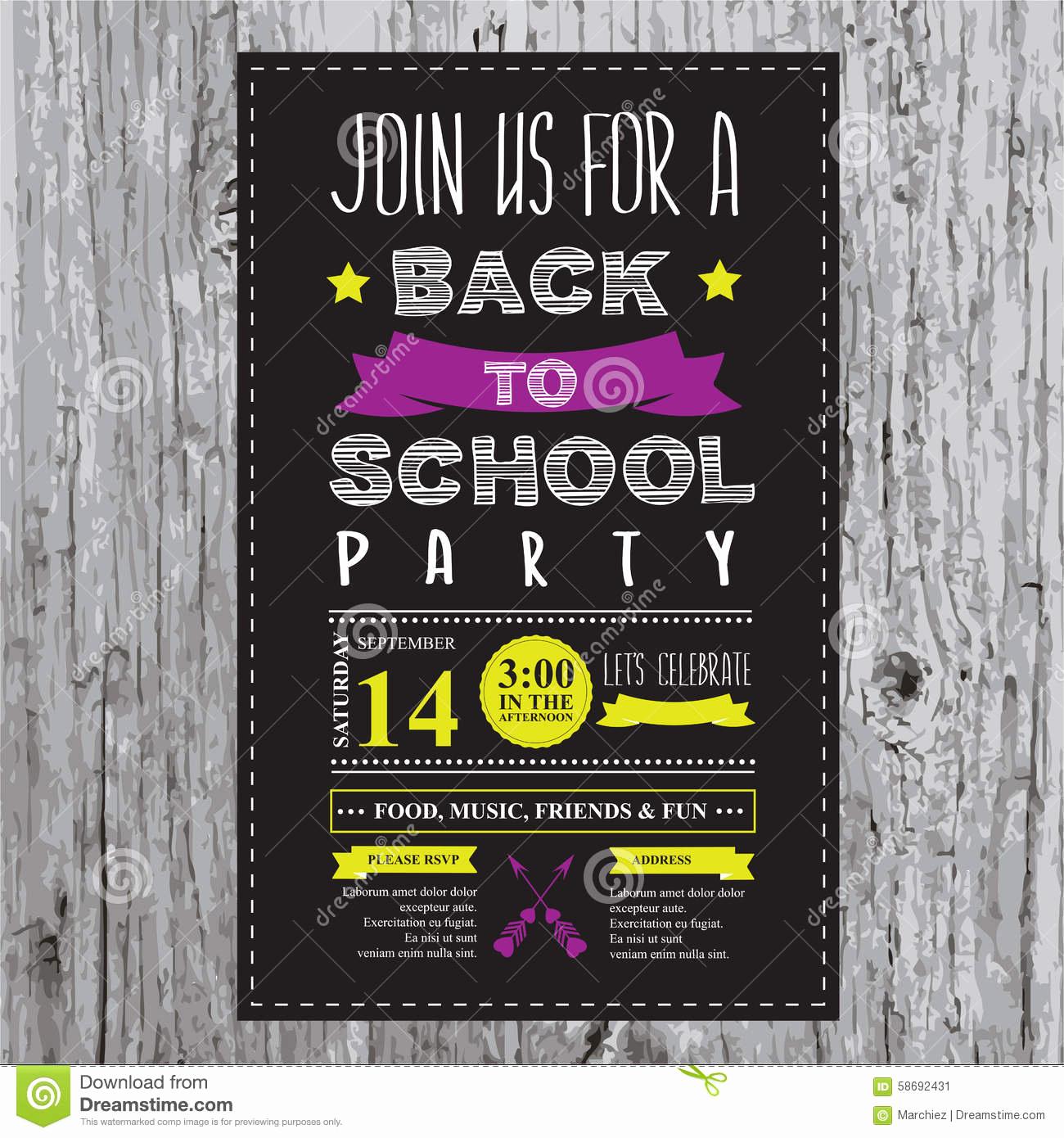 Back to School Invitation Fresh Back to School Party Invitation Stock Vector