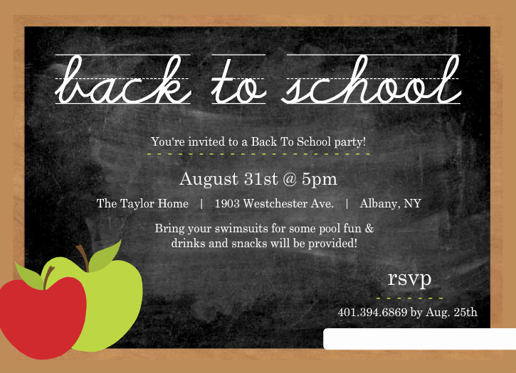 Back to School Invitation Fresh Chalkboard with Apple Chalk Back to School Party