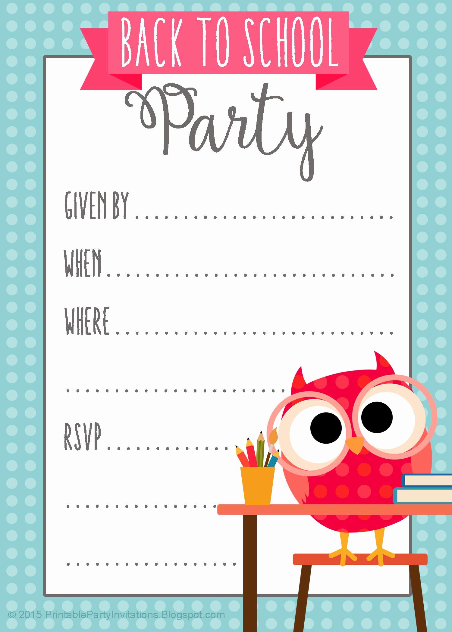 Back to School Invitation Inspirational Free Printable Back to School Party Invitation