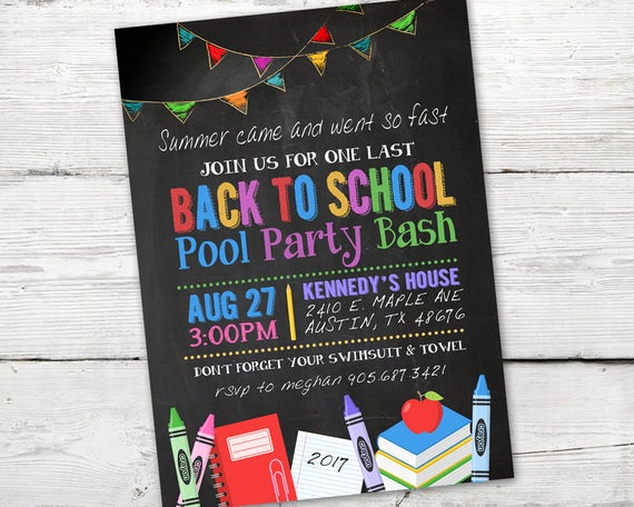 Back to School Invitation New Back to School Party Invitation Back to School Invitation
