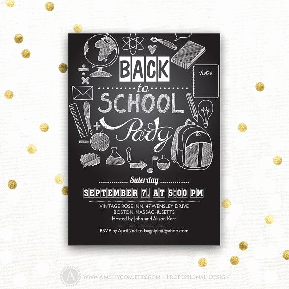 Back to School Invitation Unique Back to School Invitation Back to School Party Printable