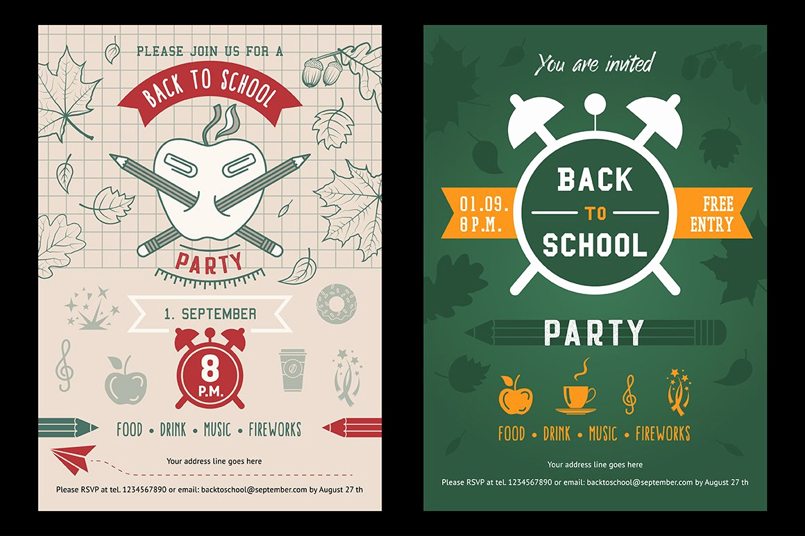 Back to School Invitation Unique Back to School Party Invitation Card Illustrations