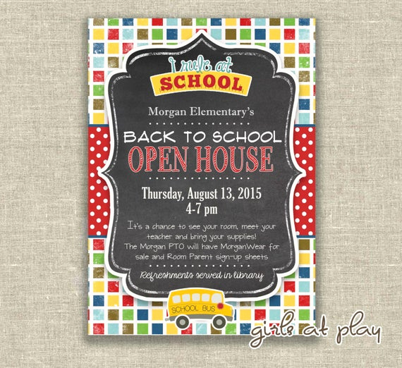 Back to School Invitation Unique Items Similar to Back to School Open House Chalkboard