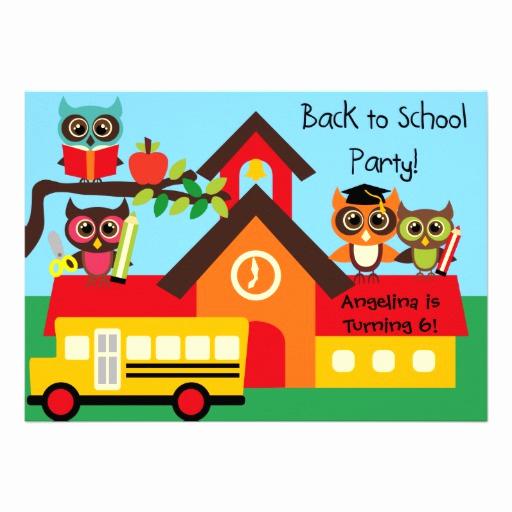"Back to School Invitation Unique Owls Back to School Birthday 5x7 Invitation 5"" X 7"