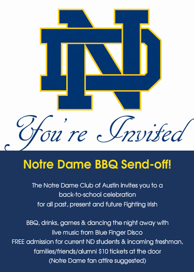 Back to School Night Invitation Beautiful Notre Dame Bbq Send Off Line Invitations & Cards by