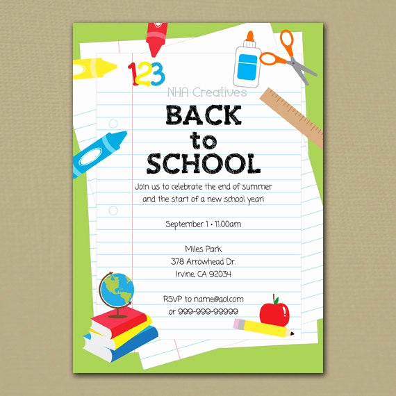 Back to School Night Invitation Fresh Back to School Party Invitation School Supplies