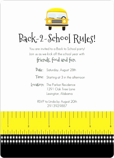 Back to School Night Invitation Fresh Back to School Rules Party Invitation