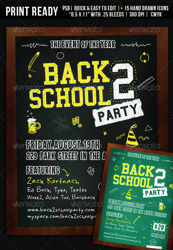 Back to School Night Invitation Unique Back 2 School Party Flyer by Wanderingfolks