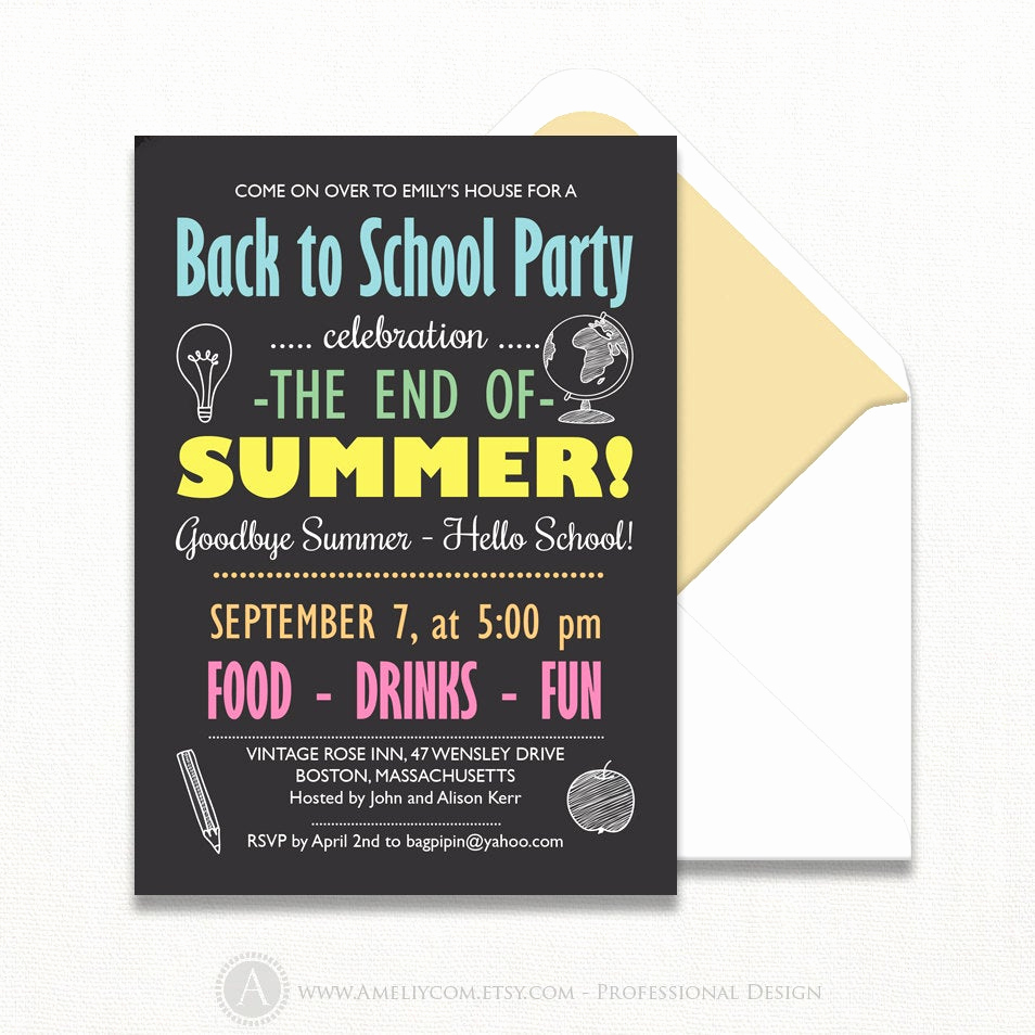 Back to School Party Invitation Awesome Back to School Invitation Chalkboard Back to School Party