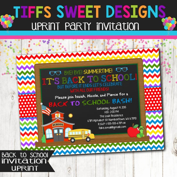 Back to School Party Invitation Beautiful Back to School Bash End Summer Party Bash