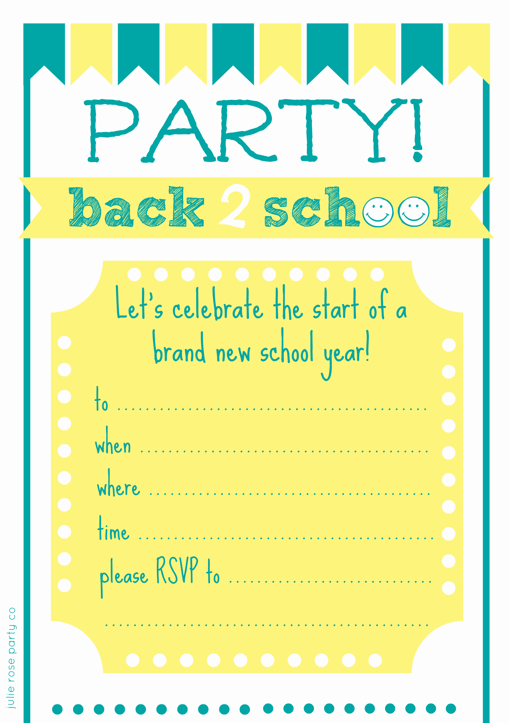 Back to School Party Invitation Beautiful Free Back to School Party Invites and Cake toppers