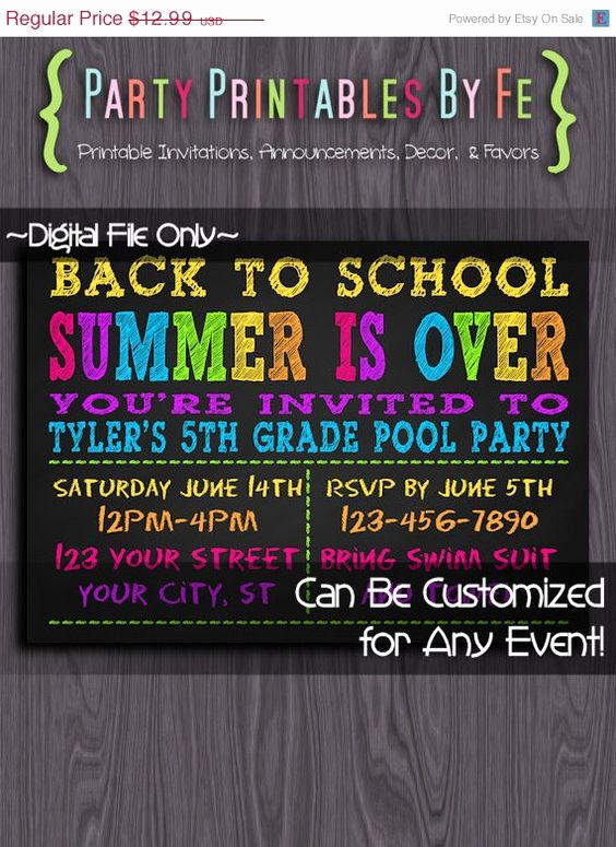 Back to School Party Invitation Fresh On Sale Printable Pool Party Invitation School S Out for