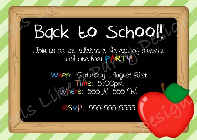 Back to School Party Invitation Lovely Back to School Custom Party Invite